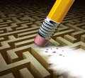 Clearing the path business solutions as a metaphor for removing a complicated maze by a pencil eraser as a concept of innovative Stock Image