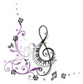 Clef music with flowers and notes Royalty Free Stock Images