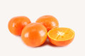 Clementines cut isolated close up Stock Images