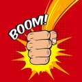 Clenched fist boom hit power pow abstract vector illustration Stock Photos