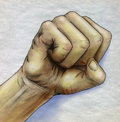 Clenched fist colored pencil drawn sketch of a with blue shadow Stock Photography
