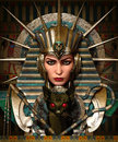 Cleo and bastet d cg computer graphics of a young woman with ancient egyptian makeup clothing Royalty Free Stock Photo