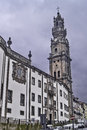 Clerigos church in oporto with tower december side and nicolau nasoni on baroque style from meters symbol of Royalty Free Stock Image