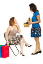 Clerk with customer woman Royalty Free Stock Photos