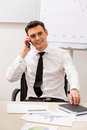 Clerk in the office successful manager conducts telephone conversations Stock Images