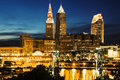 Cleveland during blue evening Stock Images