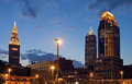 Cleveland evening time Royalty Free Stock Images