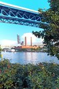 The Cleveland Flats along the Cuyahoga River in Cleveland, Ohio, USA.