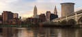 Cleveland Ohio Downtown City Skyline Cuyahoga River Royalty Free Stock Photo