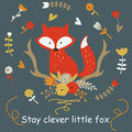 Clever fox dark Royalty Free Stock Photo
