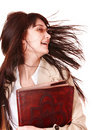 Clever girl with old book. Royalty Free Stock Photo