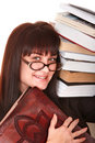 Clever girl in spectacles with group book. Royalty Free Stock Photo