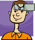 Clever guy cartoon illustration concept of young man with cogs in his head Royalty Free Stock Images