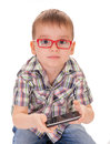 Clever kid play smart phone Stock Photo