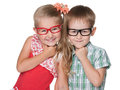 Clever kids two little stand on the white background Royalty Free Stock Photography