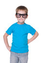 Clever little boy in glasses a portrait of a on the white background Royalty Free Stock Photo