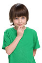 Clever little boy a portrait of a on the white background Stock Photography