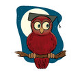 Clever owl looking right with moon behind Royalty Free Stock Photography