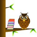 A clever owl spectacled sits on a tree with books white background illustration raster Stock Photography