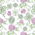 Clever trefoil vector seamless pattern green pink Royalty Free Stock Photo