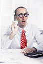Clever young businessman with bald have a solution working as sc scientist big glasses funny concept for workaholic or Stock Photo