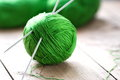 Clew of yarn with needles for knitting Royalty Free Stock Image
