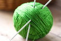 Clew of yarn with needles for knitting Stock Photography