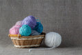 Clews of colored yarn Royalty Free Stock Photo