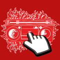 Click on boombox with fire all in red color with white stroke Stock Photography