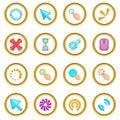 Click cursors icons circle