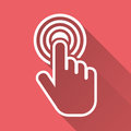 Click hand icon. Cursor finger sign flat vector. Illustration wi Royalty Free Stock Photo