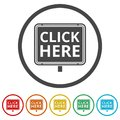 `Click Here` button, Click here icon, Click here sign, 6 Colors Included Royalty Free Stock Photo