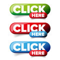 Click Here button set vector
