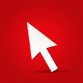 Click icon eps vector arrow on isolated on red Royalty Free Stock Photo