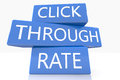 Click through rate d render blue box with text on it on white background with reflection Stock Photo