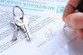 Client signing a mortgage loan agreement Royalty Free Stock Photo