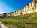 Cliff ak kaya white rock view of belogorsk crimea Royalty Free Stock Photography
