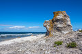 Cliff on the baltic sea coastline in sweden fårö island gotland this rock formation is called rauk swedish Royalty Free Stock Photo