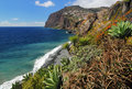 Cliff cabo girao at southern coast of madeira portugal view from camara de lobos Royalty Free Stock Image