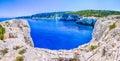 Cliff coastline wiht sand rocks near Alaties Beach, Kefalonia, Ionian islands, Greece Royalty Free Stock Photo