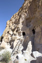 Cliff dwellings and ladders in bandelier national monument new mexico Stock Photography