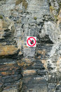 Cliff face danger warning sign Royalty Free Stock Photo