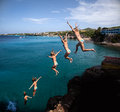 Cliff jumper at forti beach westpunt the west end of curacao caribbean Stock Image