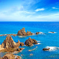 Cliff Rocks and Ocean Andalusia landscape. Parque Cabo de Gata, Almeria. Stock Photography