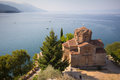 Cliff top church at lake ohrid macedonia of saint ioan kaneo Stock Photo