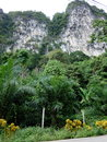 Cliff view in front of the road in Thailand Royalty Free Stock Photo