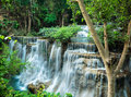 Cliff of waterfall at huay mae khamin waterfalls sri nakarin national park kanchanaburii thailand Stock Photos