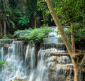 Cliff of waterfalls at huay mae khamin sri nakarin national park kanchanaburii thailand Royalty Free Stock Image