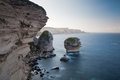 Cliffs of bonifacio in the morning corsica france wild and blue sea Royalty Free Stock Photography