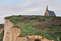 The cliffs of etretat famous and chapel notre dame de la garde normandy france Royalty Free Stock Photography